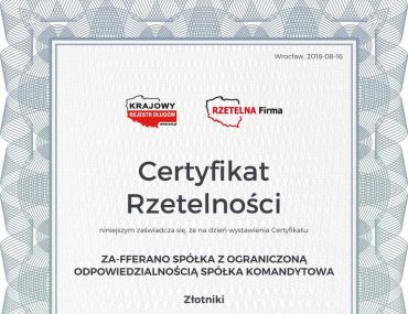 Certificate of reliability